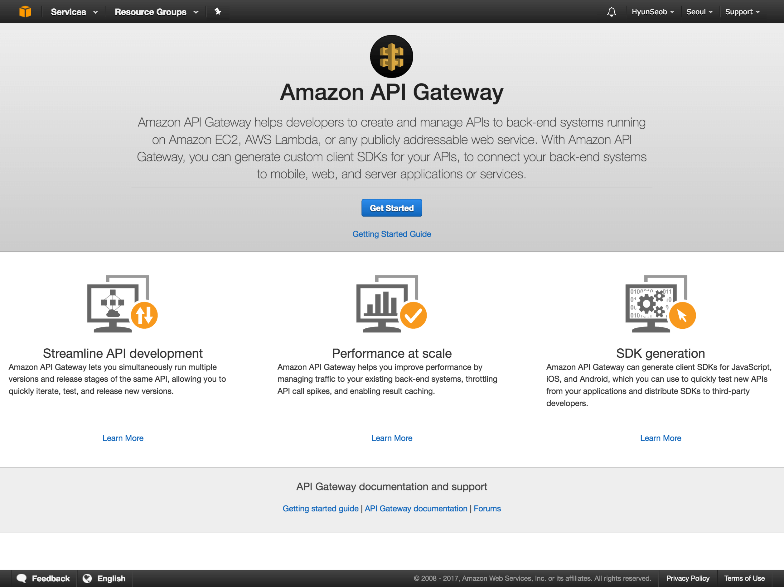 API Gateway Console Screenshot