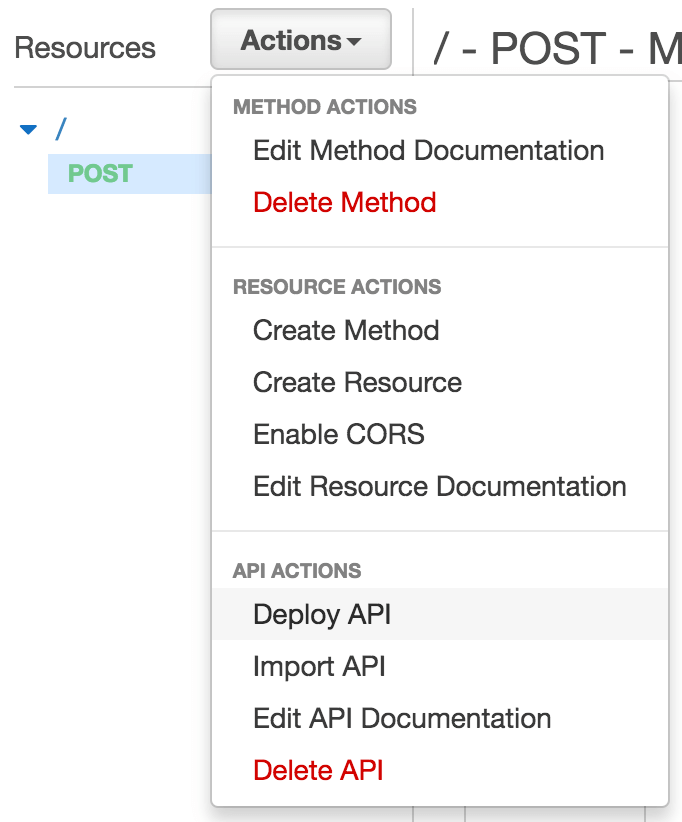 API Gateway Deploy API Screenshot